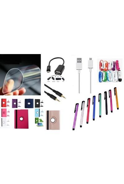 """EssLeena Samsung Powers Kılıf Seti Galaxy Tab S3 Sm-T820/T825/T827/829 9.7"""" 360 Derece Dönebilen Kılıf+Ekran Koruyucu Film+Kulalık+Aux+Otg+Şarj Kablosu+Kalem Yeşil"""