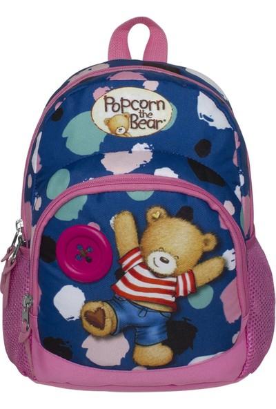 Ümit Çanta Popcorn The Bear Mavi-Pembe Kız Çocuk Anaokulu Sırt Çantası