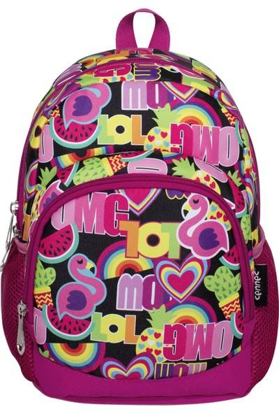 Ümit Çanta Cennec Renkli Kız Çocuk Anaokulu Çantası - Iki Bölmeli