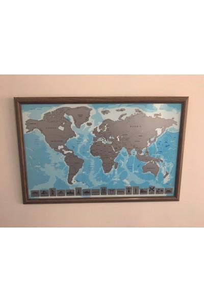 Mapofx Meşe Çerçeveli Gezkazı Dünya Haritası - Kazınabilir Dünya Haritası - Scratch Map