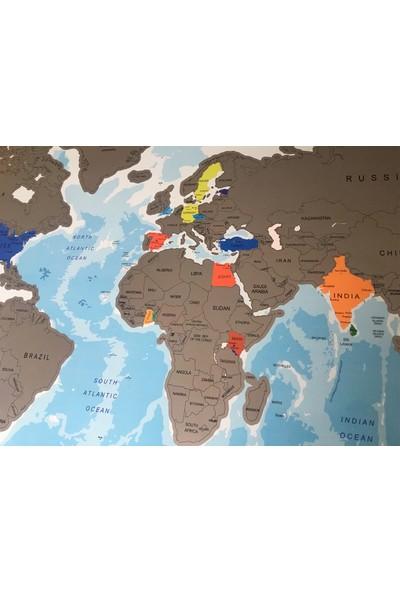 Mapofx Siyah Çerçeveli Gezkazı Dünya Haritası - Kazınabilir Dünya Haritası - Scratch Map