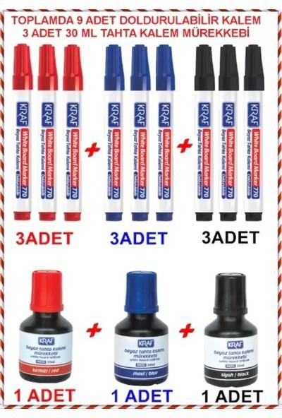 Kraf Doldurulabilir Tahta Kalemi 3 Renk Hepsi Bir Arada