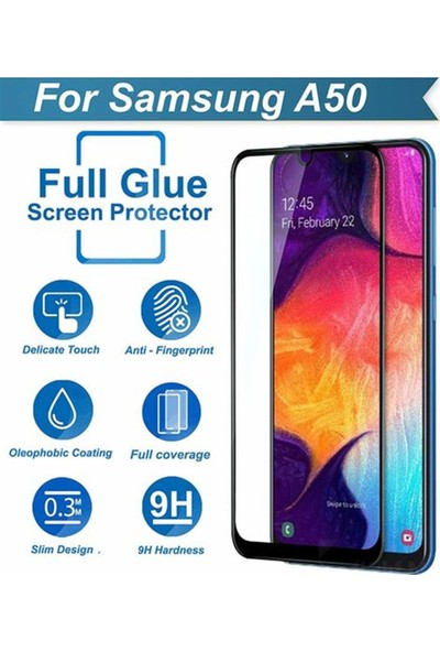 Zengin Çarşım Samsung Galaxy A50 Kavisli Tam Kaplayan 9D Ekran Koruyucu Film