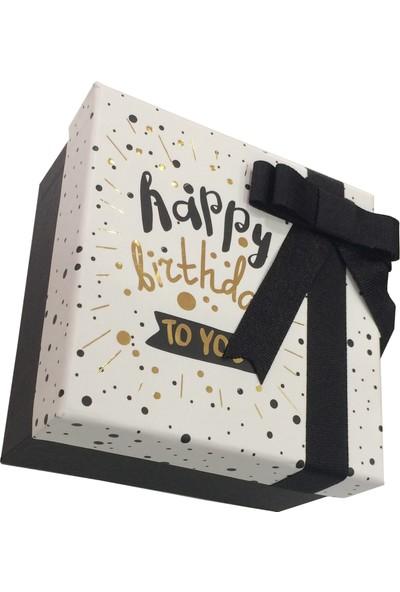 Gıpta Wish Happy Birthday Kurdeleli Kare Hediye Kutusu