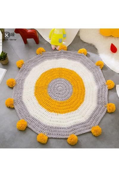 Penye Ip ile Dokuma Halka Desenli -Ponponlu Genç Odası Halısı-Hardal Sarısı 90X90 cm