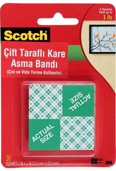 Scotch Çift Taraflı Yapışkan Köpük Kareler Ağır Malzemeler Için 25.4 mm x 25.4 mm 16 Adet