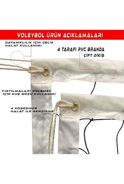 AVF131 Prof Voleybol Maç Filesi 6mm 10X10