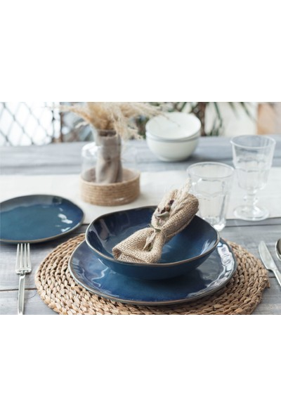 Madame Coco Bleu Infini 12 Parça Yemek Takımı - Mavi
