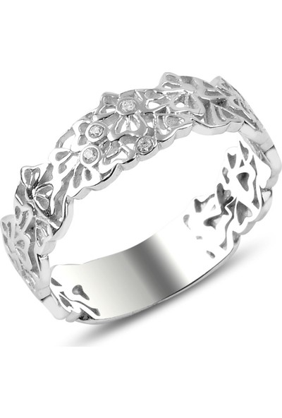 Tevuli Gümüş 925 Ayar Zirkon Taşlı Çiçek Desenli Yüzük