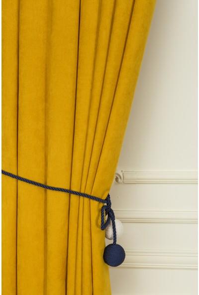 Fersa Decor Petek Sarı Fon Perde- Büzgü Pile
