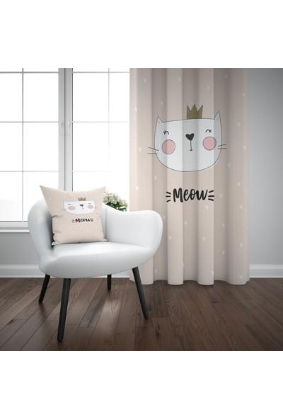 Else Pembe Beyaz Kedili İskandinav Desenli Çocuk Perdesi