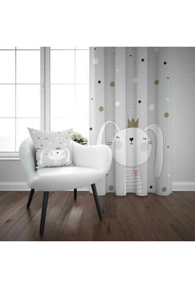 Else Gri Beyaz Taçlı Tavşan İskandinav Desenli Çocuk Perdesi