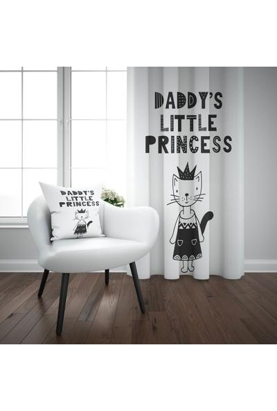 Else Babasının Prensesi Siyah İskandinav Desenli Çocuk Perdesi