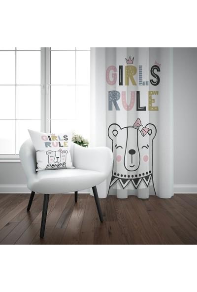 Else Renkli Kız Ayıcık İskandinav Desenli Çocuk Perdesi