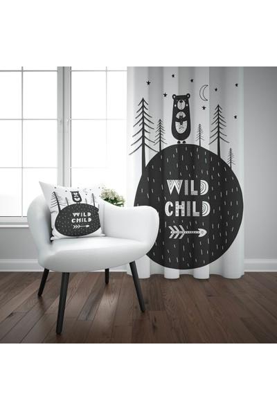 Else Orman Ayılı İskandinav Desenli Çocuk Perdesi