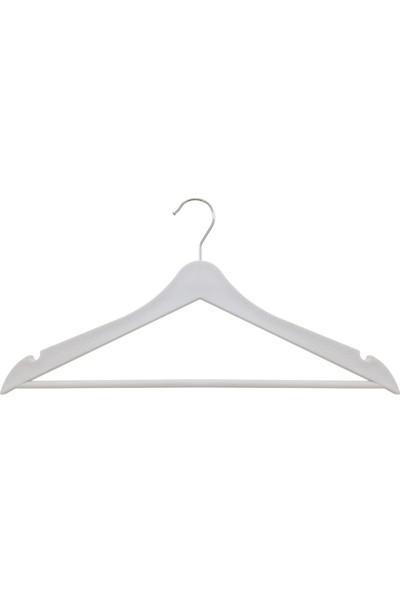 Tedarik Center Ahşap Görünümlü Elbise Askısı - 12 Adet Lila