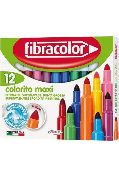 Fibracolor Colorito Maxi Jumbo Keçeli 12 Renk Yıkanabilir