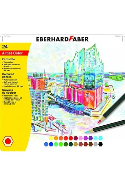 Eberhard-Faber Colored Kuruboya 24 Renk Metal Kutu