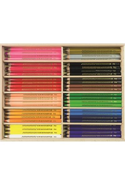 Eberhard Faber Kuruboya Boya Kalemi Jumbo Üçgen 144 Adet Ahşap Stand 18 Renk