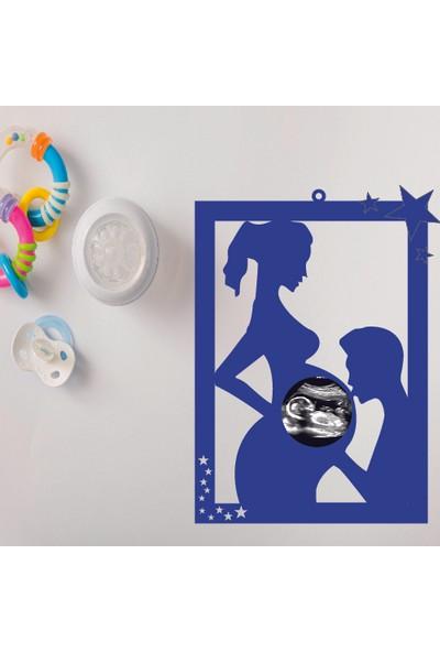 Nalia Bebe Hamile Anne - Hediyelik Ahşap Ultrason Çerçevesi Pembe