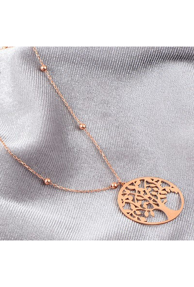 Mercan Silver Roz Altın Kaplamalı Gümüş Hayat Ağacı Kolye
