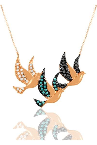 Nayino Takı Renkli Güvercinler Gümüş Kolye