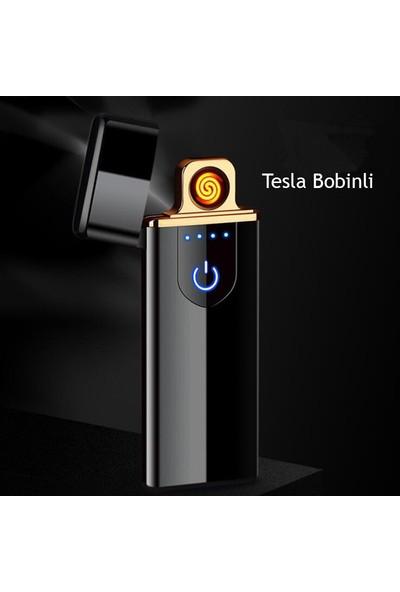 Sdin Tesla_08 Elektronik Alevsiz Tesla Çakmak Dokunmatik Ve Micro Usb Şarjlı