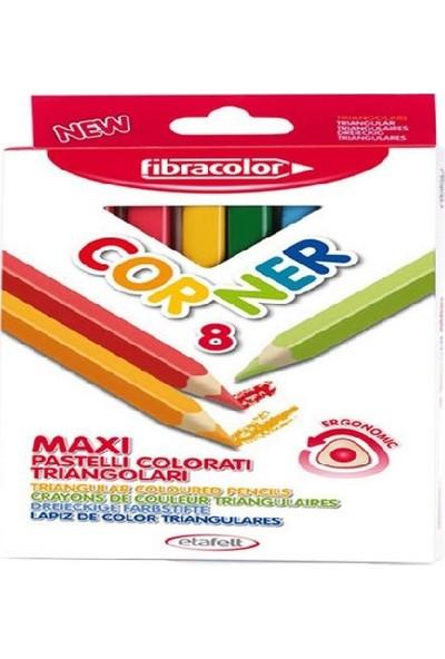 Fibracolor Corner Maxi Üçgen Kalın Kuru Boya 8 Renk
