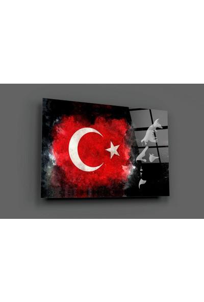 Insigne Türk Bayrağı ve Atatürk Silüeti Cam Tablo