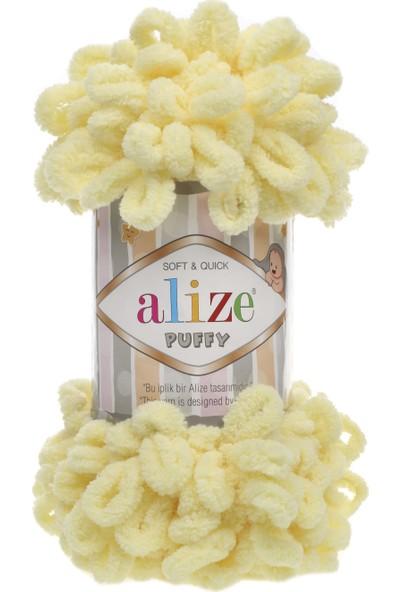 Alize Puffy 013 Açık Sarı 5 Adet Parmakla Işlenen Örgü Ipi