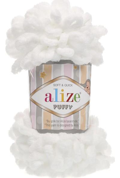 Alize Puffy 055 Beyaz 5 Adet Parmakla Işlenen Örgü Ipi