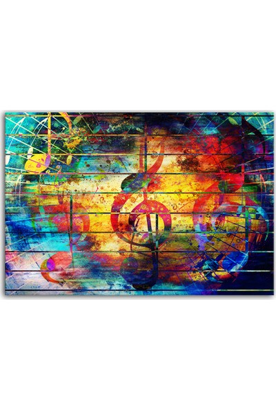 Diji Kanvas Renkli Sol Anahtarı Kanvas Tablo