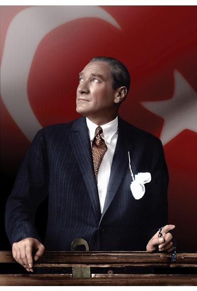 Tablosan Türk Bayrağı ve Atatürk Portresi Kanvas Tablo