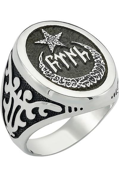 Nereze 925 Ayar Gümüş Ayyıldız Götürkçe Türk Yazılı Erkek Gümüş Yüzük
