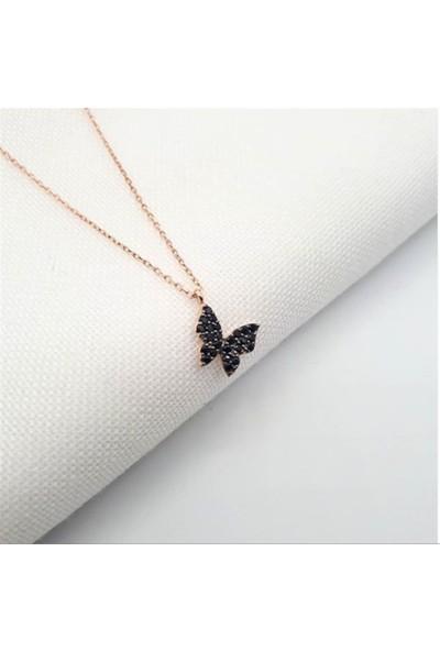 Nereze 925 Ayar Minik Siyah Taşlı Kelebek Kolye Bayan Gümüş Kolye