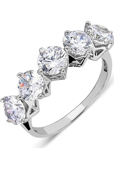 Nereze 925 Ayar Prenses Tacı Model Beştaş Gümüş Yüzük
