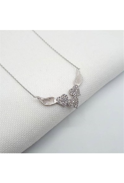 Nereze 925 Ayar 3 Kalpli Kanatlı Kolye Kadın Gümüş Kolye