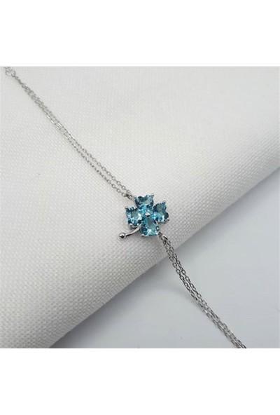Nereze 925 Ayar Aquamarin Taşlı Yonca Kadın Gümüş Bileklik