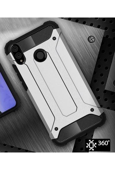 Casestore Huawei Y7 2019 Darbe Önleyici Çift Katmanlı Sert Silikon Kılıf + 5D Full Nano Ekran Koruyucu Mavi
