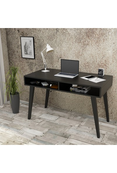 Yurudesign Masif A10 Çalışma Masası Ahşap Ayaklı 60cm Derinlik Siyah