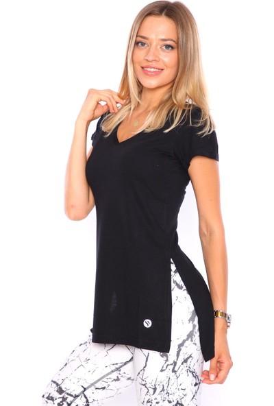 Superstacy V Yaka Yırtmaçlı Tunik Kadın Siyah Tişört