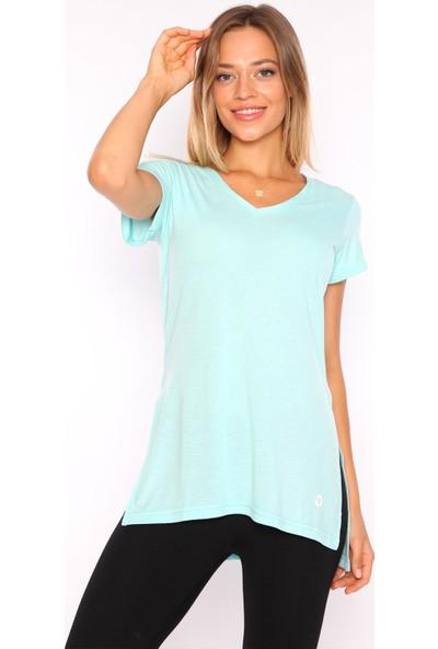 Superstacy V Yaka Yırtmaçlı Tunik Kadın Yeşil Tişört