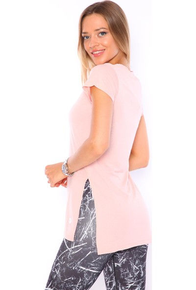 Superstacy V Yaka Yırtmaçlı Tunik Kadın Pudra Tişört