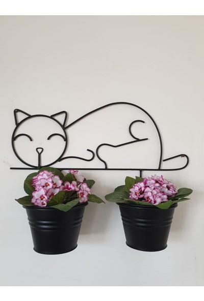Desen Dekorasyon İkili Kedi Saksı Siyah