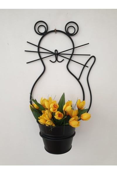 Desen Dekorasyon Tekli Kedi Saksı Siyah