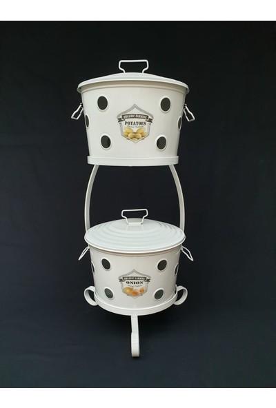 Desen Dekorasyon Patates Soğan Sepeti Beyaz Renk