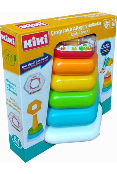 Kiki Renkli Altıgen Halkalar Bebek Oyuncak Eğitici Oyuncak