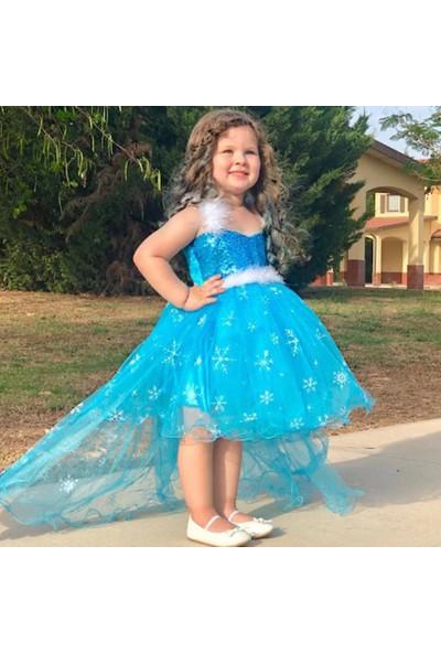 Kostümcü Teyze Kuyruklu Elsa Frozen Kostüm Tütü