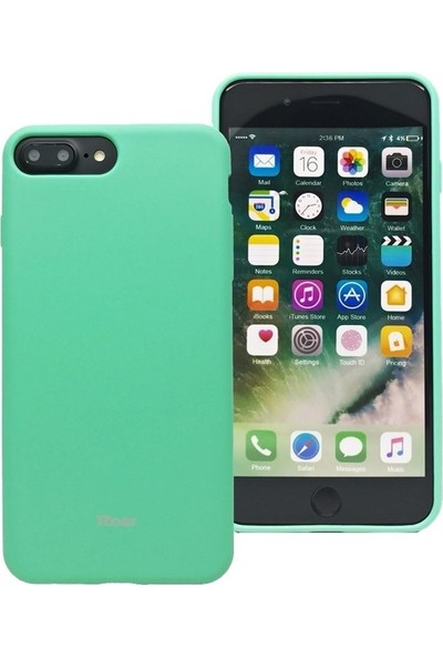 DVR Apple Roar iPhone 7 Plus Kılıf Jelly Silikon + Nano Cam Ekran Koruyucu Turkuaz