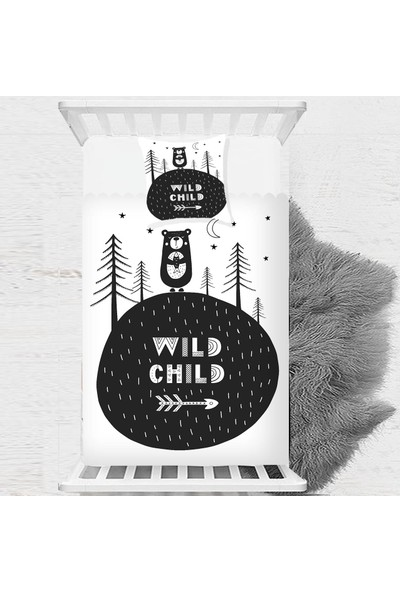 Else Orman Ayıcık Siyah Beyaz İskandinav Çocuk Bebek Yatak Örtüsü 140x220cm